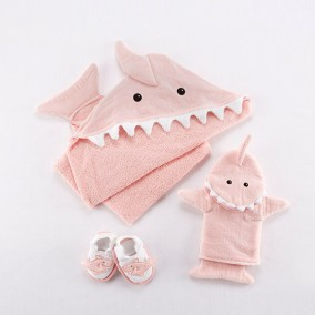 'Let the Fin Begin' 4-Piece Bath Gift Set in Pink