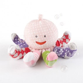 'Mrs. Sock T. Pus' Plush Octopus with 4 Pairs of Socks in pink